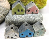 5 Saggar Fired Miniature House Beads...Green Pink White Blue Copper Green/ Red