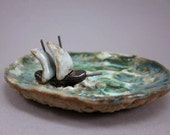 Sailship...Trinket Dish in Stoneware ( DISCOUNTED)