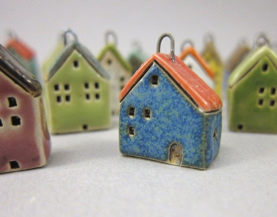 Tiny BLUE House Pendant in Stoneware