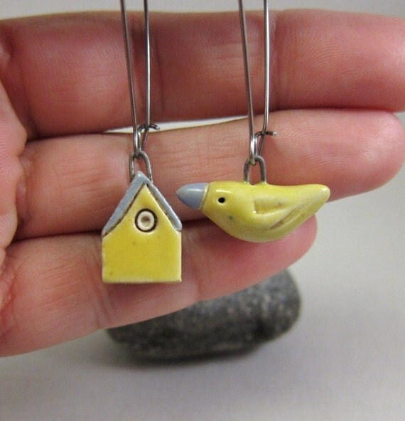 Perfect Home for a Yellow Bird... Porcelain Earrings