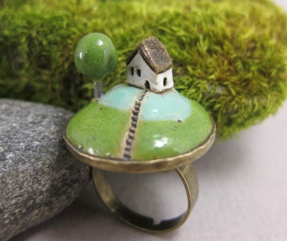 Foggy Day...Miniature Landscape Ring in Stoneware