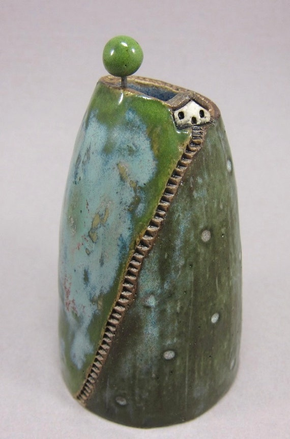 Visiting My Tree...Bud Vase / Pen Holder in Stoneware