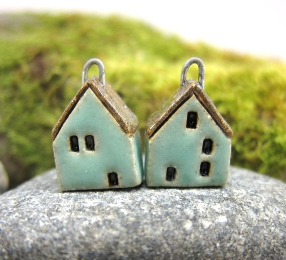 Turquoise GREEN...Miniature House Earrings