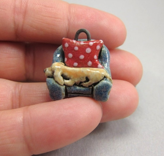 DACHSHUND...Portable Micro Pet......Stoneware Pendant/Necklace