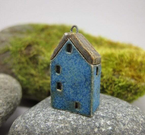 Midnight BLUE...Miniature Cottage Pendant in Stoneware
