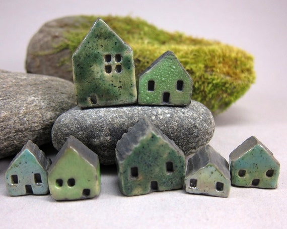 Lucky nr 7...GREENS...Rustic Miniature Houses for Moss Tearriums or Pot Gardens