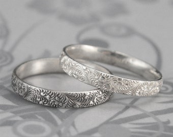 Birds of a Feather Silver Wedding Band-Elegant Swirl Feather Design in Sterling Silver-Embossed Intricate Detail