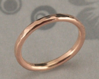 Rose Gold Hammered Band~Hammered Wedding Ring~Molten Lava~Gold Stacking Ring~2mm Round Band~Gold Hammered Ring~Gold Wedding Band