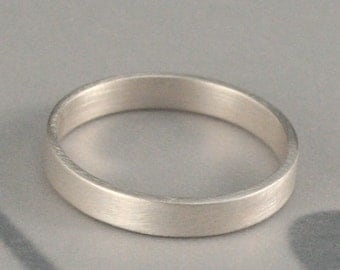 Women's Silver Wedding Ring--The Straight and Narrow Thin Band--3mm wide Flat Edge Solid Sterling Silver Band Custom made in YOUR size