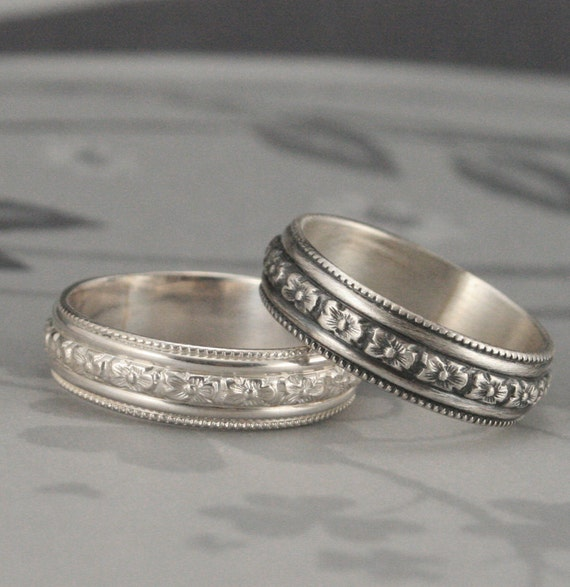 Silver Floral Band--Ring Around the Rosy Ring with an EDGE--Victorian Inspired Band--Floral Wedding Ring--Silver Ring with Milgrain Edge