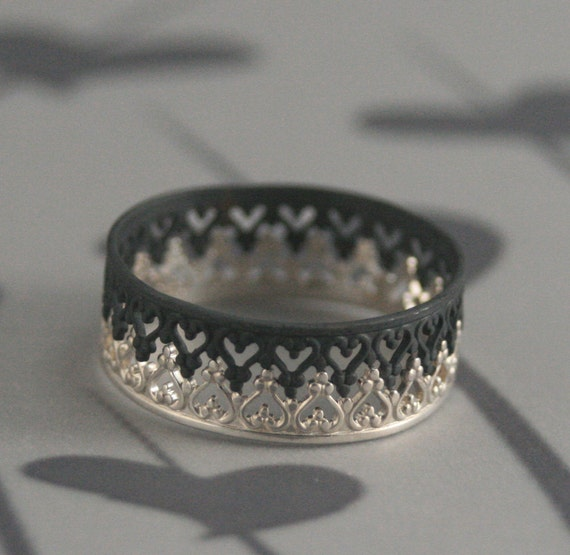Queen of Hearts--Black Majesty Crown Inspired Wedding Band Set--Satin and Lace Rings--Crown Bands--Oxidized Silver Ring--Stacking Rings