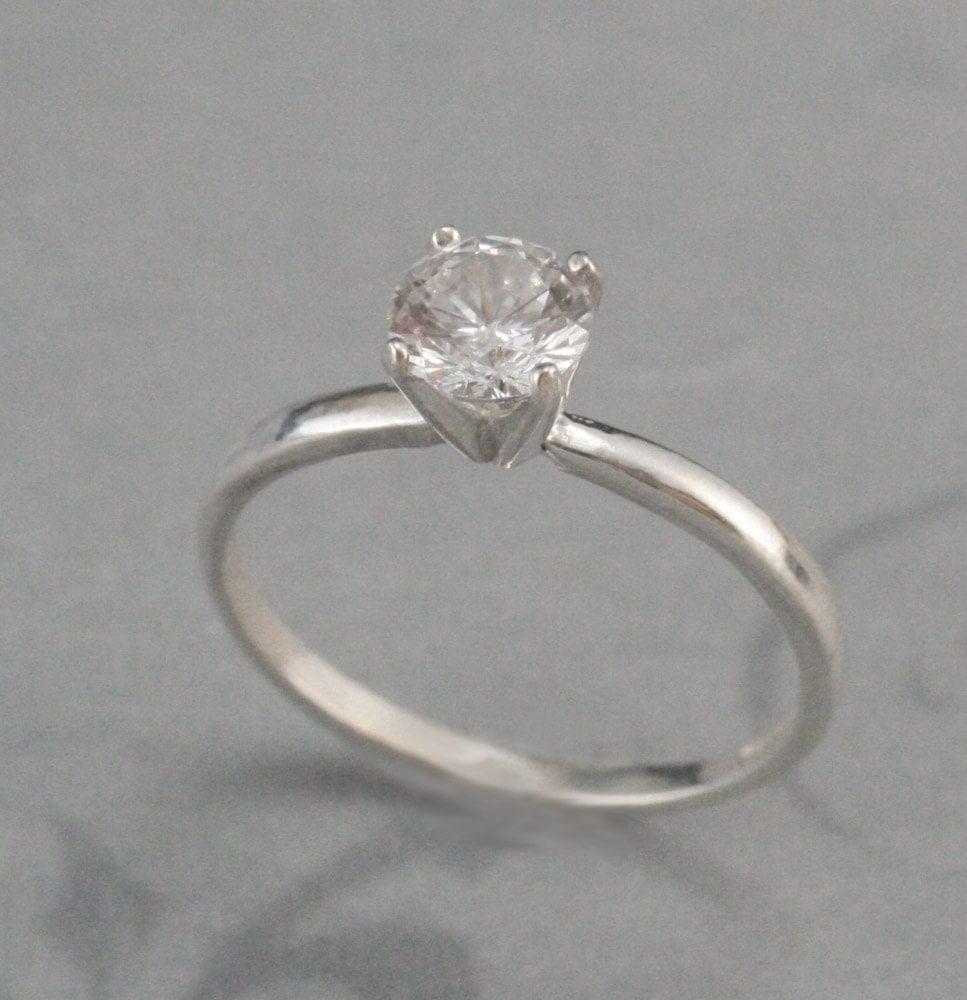 Plain Jane Faux Diamond Engagement RingSilver Engagement