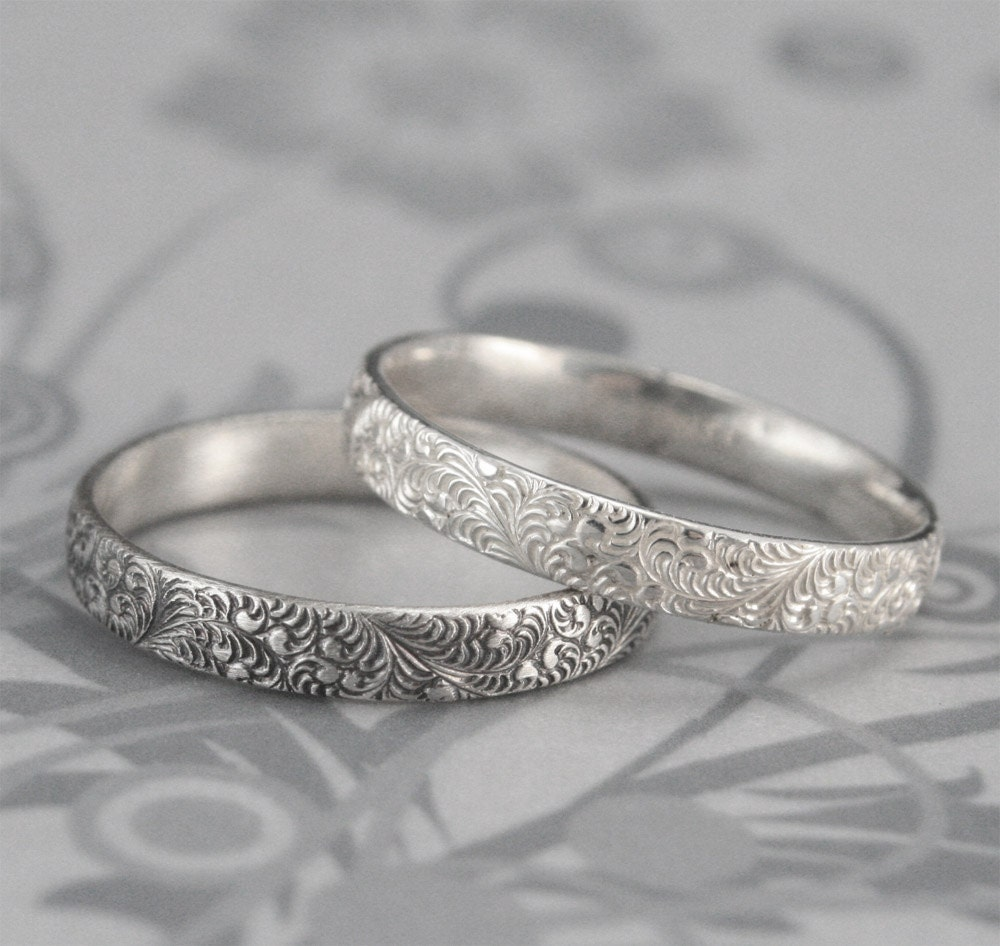 birds of a feather silver wedding band elegant swirl feather. Black Bedroom Furniture Sets. Home Design Ideas