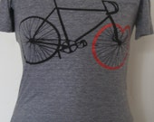 Bicycle Love Tee Black and Red Print on Grey Tri-Blend Tee (L)