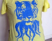 Tigerpus Tee Bright Blue Print on Yellow Tee (S)