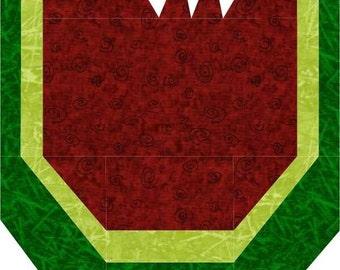 Watermelon Foundation Piece Quilt Block-PDF Pattern by MadCreekDesigns