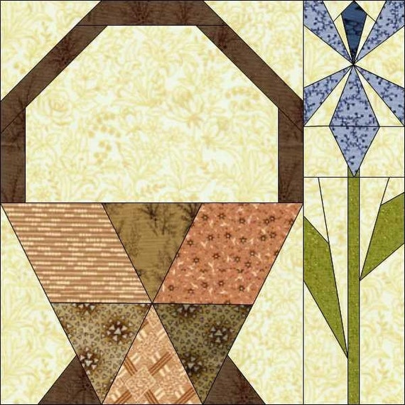 Iris Basket Bloomer Foundation Paper Piece Quilt Block PDF