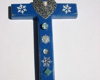 Decorative Wood Cross,Blue wood cross, Decorative wall art, Decorative wall cross