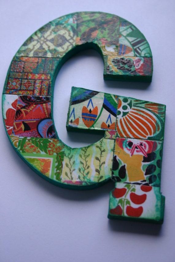 "Medium decoupage wood letter 'G', Collaged Letter  5.5"" tall, Home Decor letter 'G', Collaged wall hanging letter, Wood Letter."