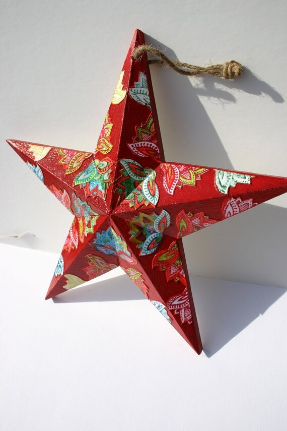 Star ornament, Large decoupage star, Large red star