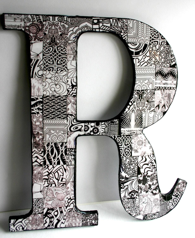 Large decoupage wood letter 39r39 black white for Large black wooden letters