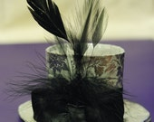 Silver Miniature Top Hat  with Black Feathers