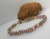 Macrame Hemp Necklace with Pink and Lavendar Beads