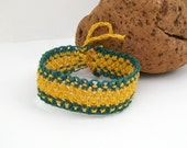 Gold and Green Macrame Hemp Anklet