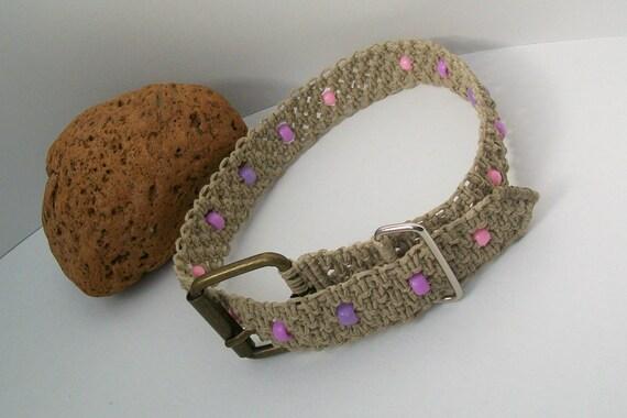 Hemp Macrame Dog Collar