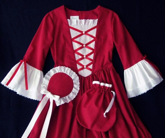 Colonial day dress set for girls - size M - ready made