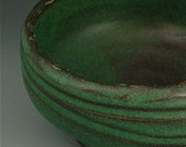 Ceramic soup or salad bowl in green and black