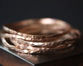 Hammered 14kt Rose Gold Stacking Bangle- as seen on E! News & Sports Illustrated Swimsuit