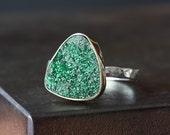 Green Druzy Uvarovite Garnet Ring- 14kt gold bezel setting, sterling silver band, triangle, organic, modern, hammered