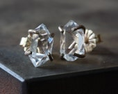 Herkimer Diamond Earrings- 14kt gold - as seen in BUST Magazine
