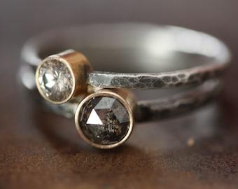 Large Silvery-Black Rose Cut Diamond Ring - Engagement