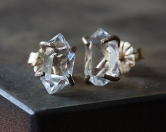 Herkimer Diamond Earrings- 14kt gold - as seen in BUST Magazine