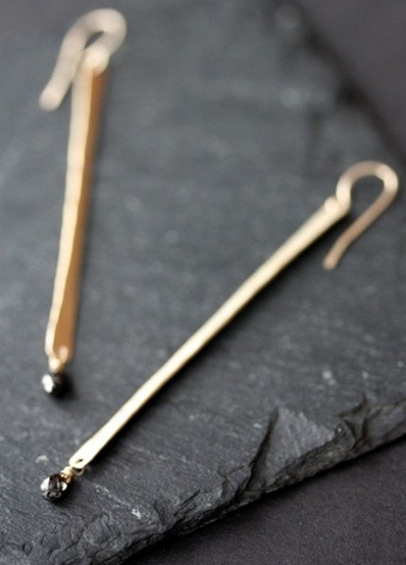 Modern Black Diamond Earrings