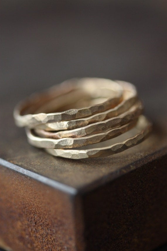 Hammered Gold Stacking Rings - as seen in ELLE and LUCKY Magazine