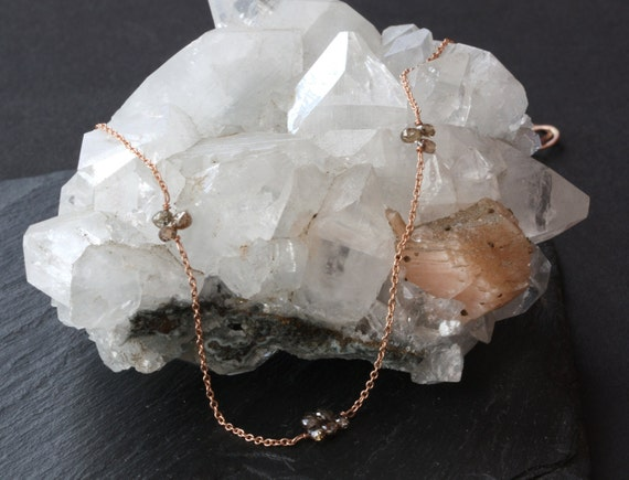 Champagne Diamond and 14kt Rose Gold Necklace