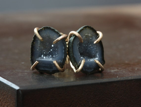 Druzy Agate Geode Stud Earrings in 14kt Gold, studs, posts, prong setting, natural stone, one of a kind, blue