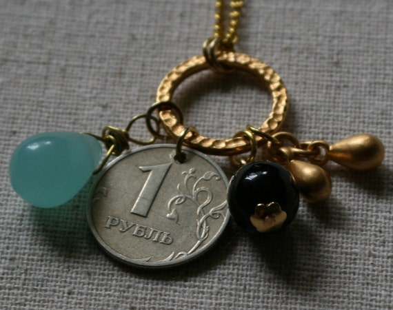 Golden Talisman Necklace with Russian Coin- FREE SHIPPING