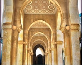 Square Photo of an Arched hallway in Casablanca, Morocco, great Mosque