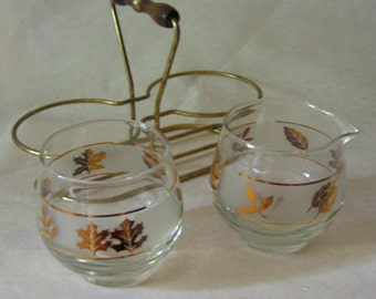 Vintage Cream and Sugar Set with Caddy Gold Leaves on Glass