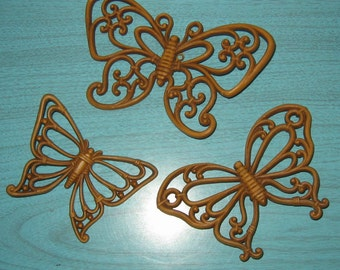 Vintage Wall Decor Rattan Butterfly Group Butterflies Set of 3