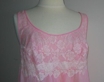 Vintage Bubblegum Pink Nylon Babydoll Nightgown 36