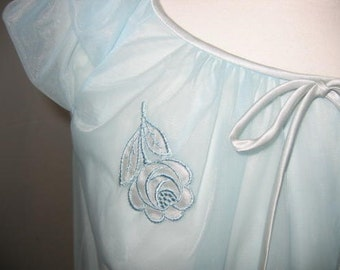 Vintage Minty Baby Blue Flounced Hem Nylon Nightie with Rose Appliques