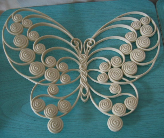 Vintage Wall Decor Giant White Rattan Butterfly