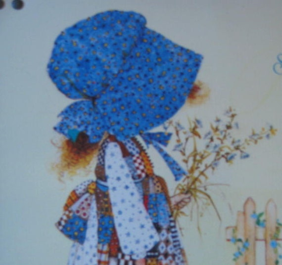 Vintage Holly Hobbie Blue Girl Metal Snack Tray Start each day in a happy way