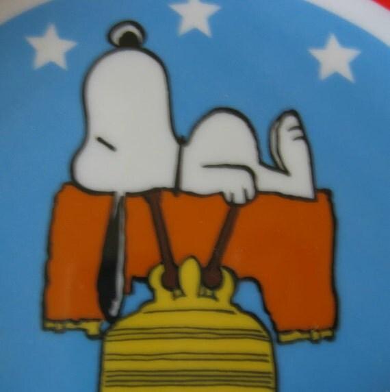 Vintage SNOOPY Bicentennial Plate 1976 Peanuts