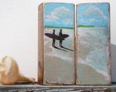 Surf painting, surf art, beach decor, wood block diptych for beach house and surf decor by Cathie Carlson